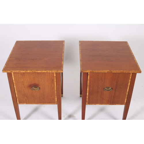 58 - A PAIR OF SHERATON DESIGN MAHOGANY AND SATINWOOD CROSS BANDED PEDESTALS each of rectangular outline ...