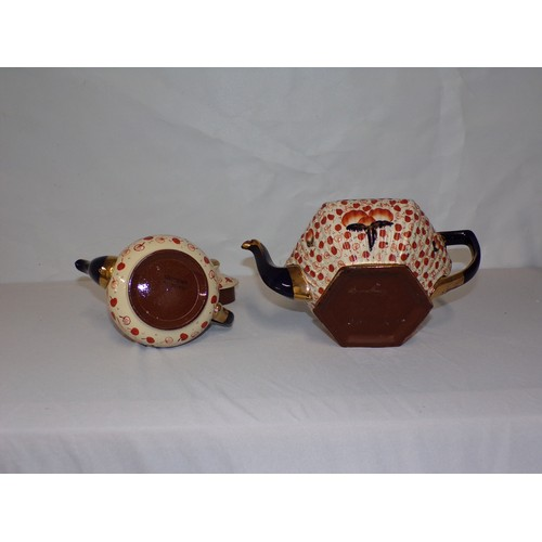 12 - 2 clay  tea pots early 20th century...