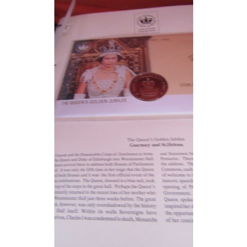 5 - 18 PAGES OF THE 2002 QUEENS GOLDEN JUBILEE FIRST DAY COVERS WITH STAMPS AND COINS...