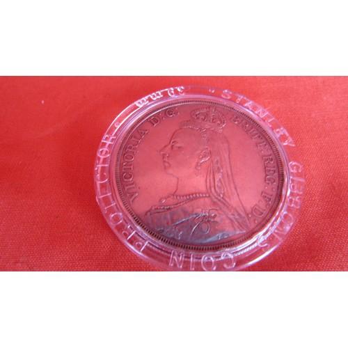 13 - 1887 CROWN F/VF COIN IN CASE...