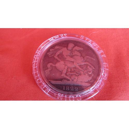 10 - 1822 CROWN FINE COIN IN CASE...