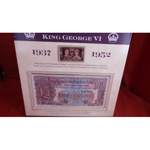 19 - KING GEORGE VI STAMP 1 POUND NOTE AND COINS IN CASE AND A ANZAC 75TH ANNIVERSARY S5 COMMEMORATIVE CO...