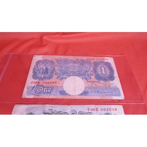 29 - EARLY COLLECTIBLE BANKNOTES ,2 X 1 POUND  AND 1 TEN SHILLING NOTE...