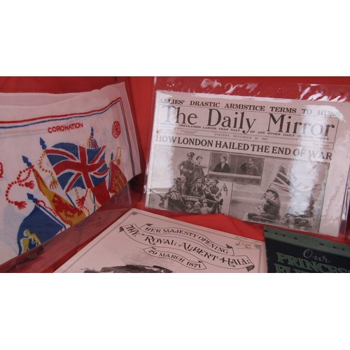 39 - ROYAL ALBERT HALL SOUVENIR,END OF THE WAR NEWSPAPER ,PRINCESS ELIZABETH IN PICTURES ,AND X 3 SEALED ...