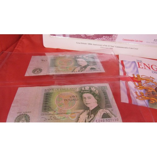 42 - 3 X ONE POUND NOTES AND ONE POUND COIN...