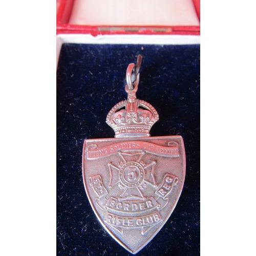 9 - HALLMARK SILVER BIRMINGHAM 1919  5TH BORDER REG RIFLE CLUB MEDALLION...