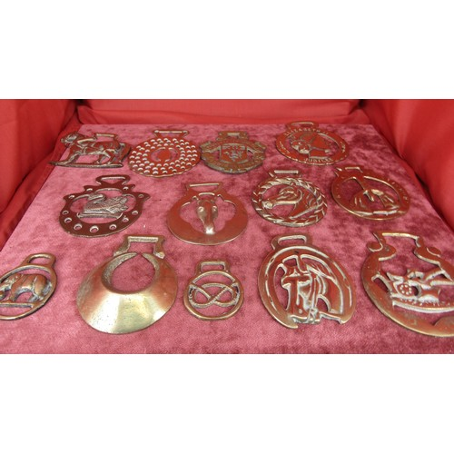 42 - 13 X COLLECTION OF HORSE BRASSES...