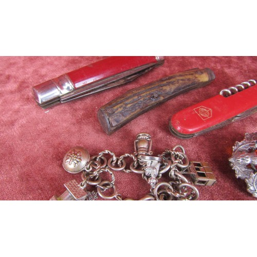 47 - 3 X PENKNIVES ,SCOTTISH BROOCH AND A BRACLET...