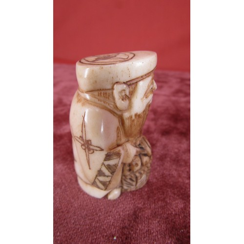 8 - EARLY BONE JAPANESE NETSUKE FIGURE...