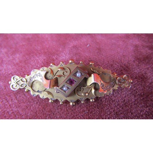 37 - 9CT GOLD BROOCH WITH PEARL AND GARNETS...