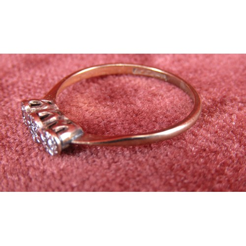 3 - 9CT GOLD RING  WITH 3 ILLUSION SET DIAMONDS   SIZE N