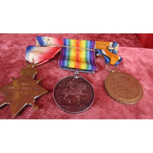 11 - WW1 SET OF  3 MEDALS ON BAR AWARDED TO 306 GUNNER A.NICKLIN R.A ROYAL MILITARY (ALL NAMED)