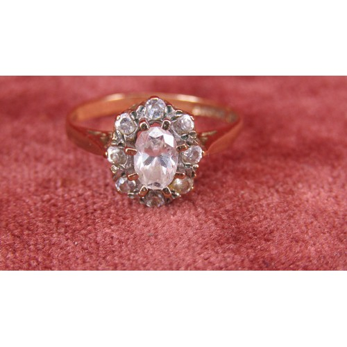 14 - 9CT GOLD RING WITH WHITE STONES SIZE N