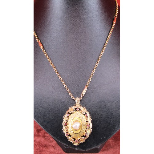 19 - BESPOKE GOLD LOCKET PENDANT WITH RUBIES AND PEARL ON A VICTORIAN 18
