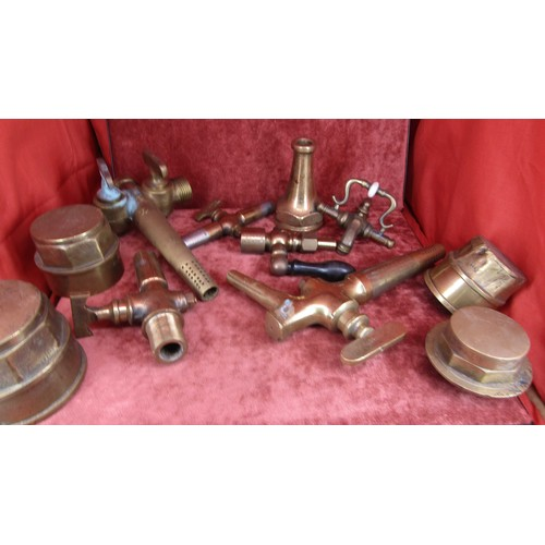 47 - COLLECTION OF VINTAGE BRASS TAP ENDS AND OTHERS