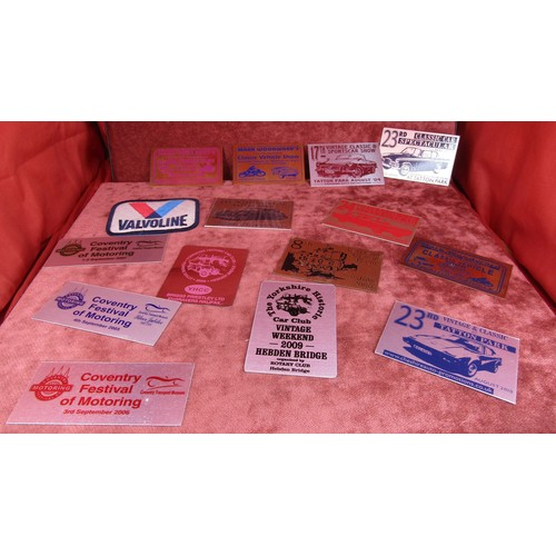 54 - 15 X STICK ON COLLECTABLE CAR ADVERTISING BADGES