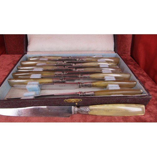 56 - ART NOUVEAU VINTAGE KNIFE SET MADE IN PARIS BOXED