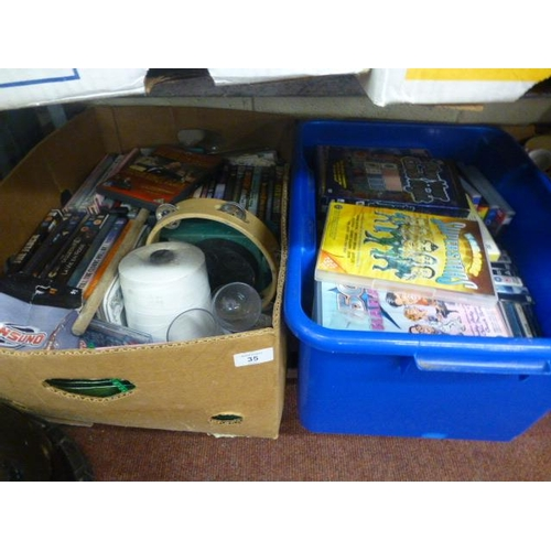 35 - 2 BOXES OF DVD'S ETC...