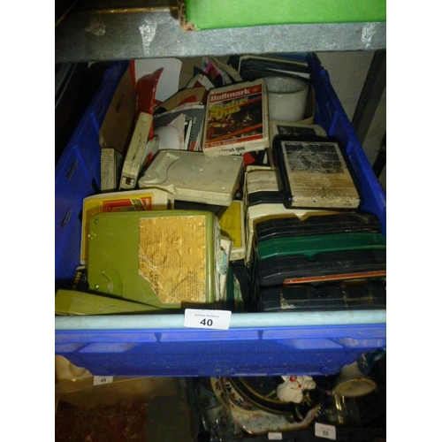 40 - LARGE CRATE OF 8 TRACKS ETC...