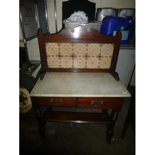 584 - MARBLE TOP WASHSTAND...