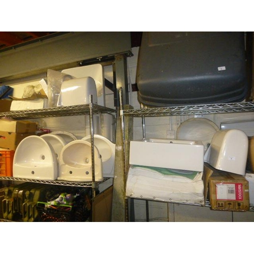 4 - LARGE QUANTITY OF NEW AND UNUSED BATHROOM FITTINGS INCLUDING SINKS, BATHS ETC