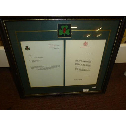 662 - 107TH BRIGADE/36 USLTER DIVISION MEMORIAL PLAQUE AND LETTER FROM QUEEN