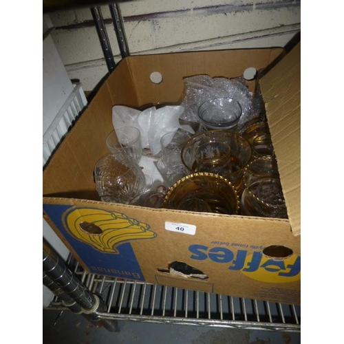 40 - BOX OF GLASSWARE...