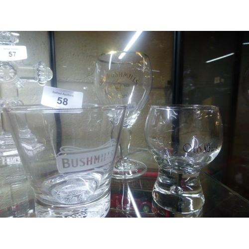 58 - 3 OLD BUSHMILLS GLASSES...
