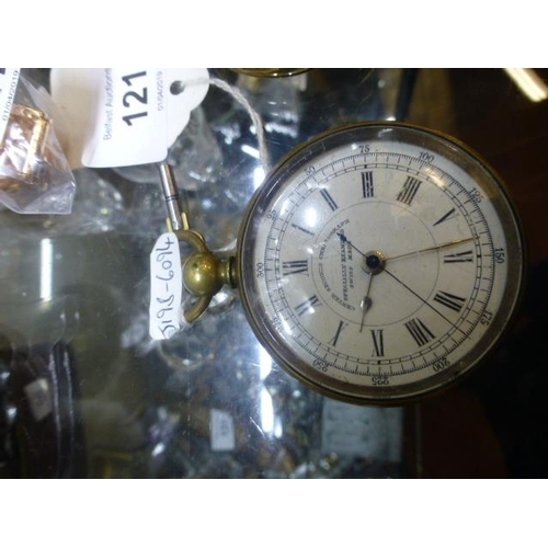121 - BRASS CHRONOGRAPH POCKET WATCH W/O AND KEY...