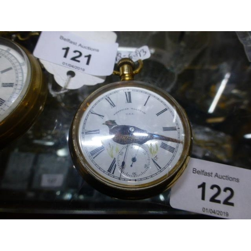 122 - GOLD PLATED VICTORIAN POCKET WATCH (PHEASANT DIAL) W/O...