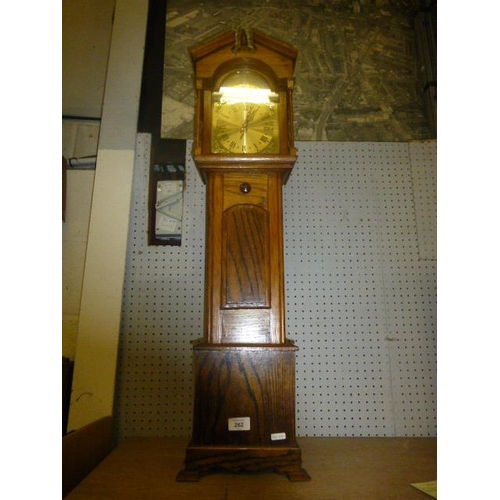 262 - OAK CASED MINIATURE GRANDFATHER CLOCK...