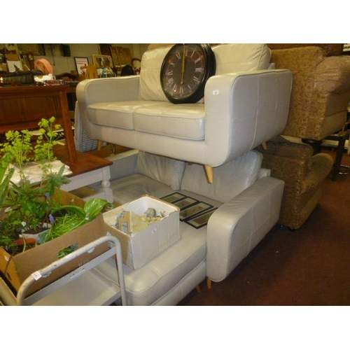 443 - MODERN LEATHER 2 SEATER AND CORNER SOFA...