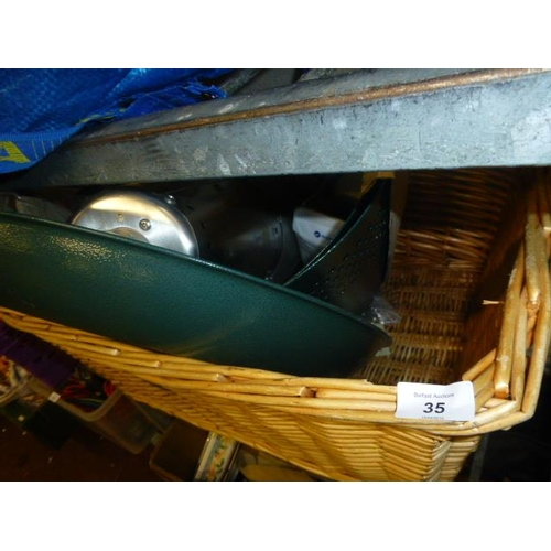 35 - BASKET AND CONTENTS...