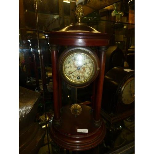 288 - VICTORIAN PORTICO CLOCK, KEY AND PENDULUM (PWO)...