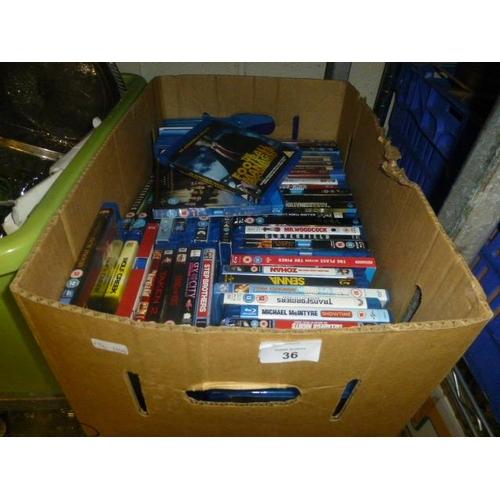 36 - BOX OF BLU RAYS...