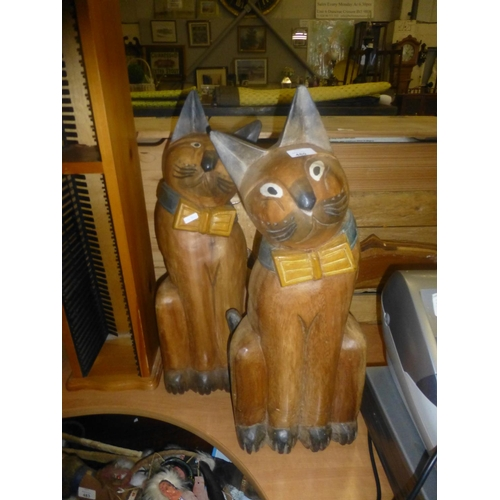 480 - 2 LARGE CARVED WOODEN CATS...