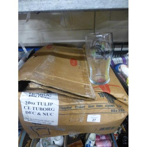 27 - BOX OF GLASSES...
