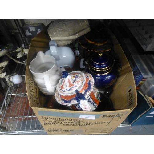 44 - BOX OF TEA POTS...