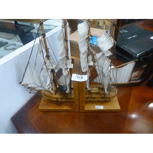 518 - PAIR OF BOAT BOOKENDS...