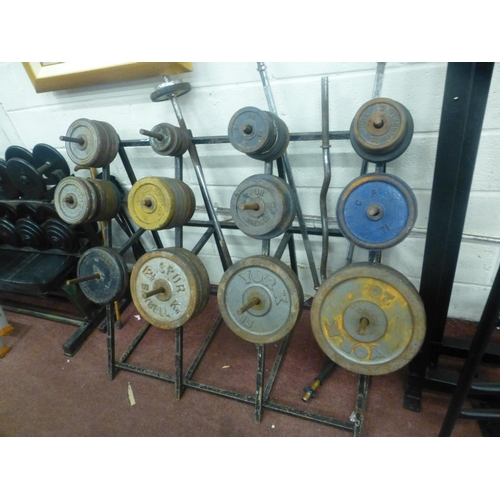 49 - LOSE WEIGHTS RACK AND BARS AND PUNCH BAG...