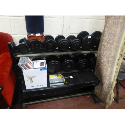 51 - DUMBELLS, RACK AND BENCH...
