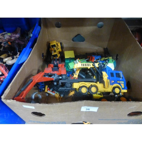 36 - BOX OF TOY CARS...