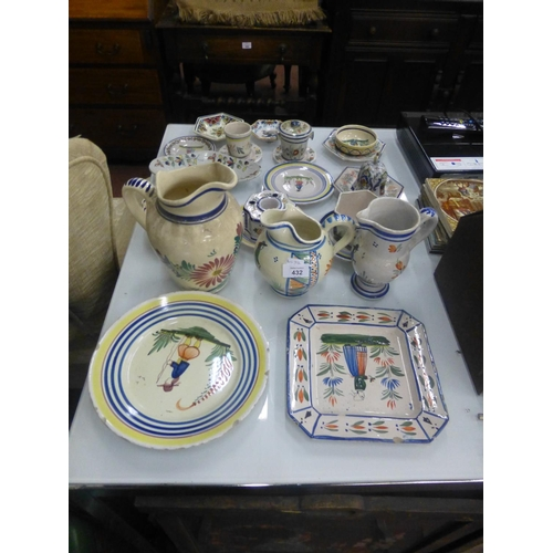 432 - COLLECTION OF HAND PAINTED FRENCH POTTERY...