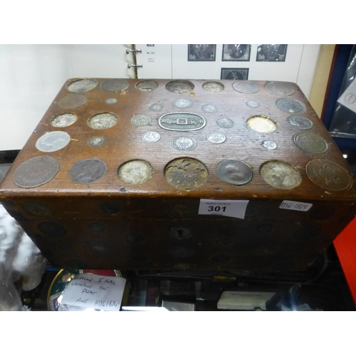 301 - WOODEN BOX WITH 90 COINS INCLUDING SILVER...