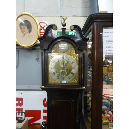 113 - BRASS DIAL GRANDFATHER CLOCK...