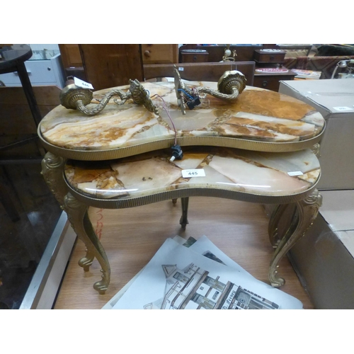 445 - NEST OF 2 MARBLE TOP GILDED TABLES...