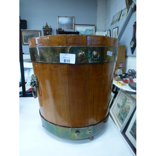 610 - BRASS AND WOOD BUCKET...