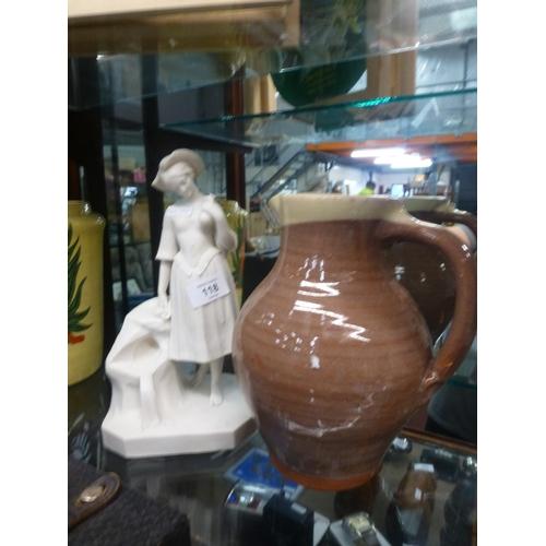 118 - WHITE PLASTER LADY FIGURE AND WATTISFIELD WARE JUG