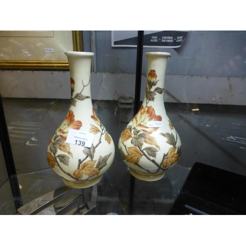139 - PAIR OF FLORAL SPILL VASES