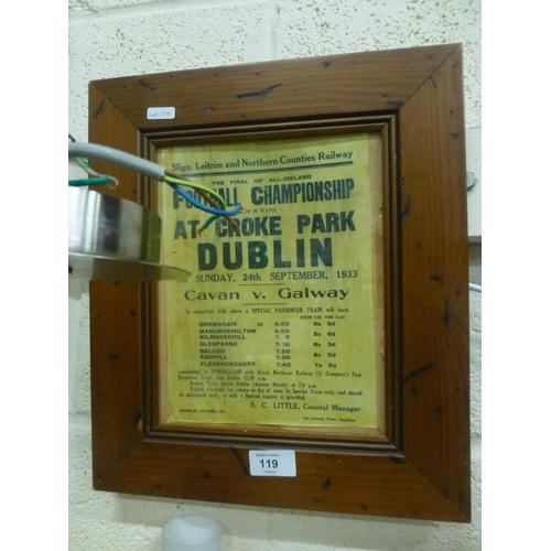 119 - CAVAN VS DUBLIN RAILWAY ADVERTISEMENT...